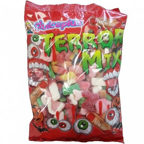 Paquet de bonbons Mix Terror de la marque Dulceplus Assortiment de bonbons acidulés en forme de doigt, dentier, tête de sorcière, os,...