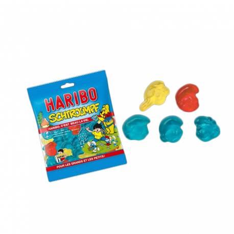 Mini sachet de bonbons Haribo en forme deSchtroumpfs idéal pour les anniversaires et la garniture des pinatas Goût framboise 40gr