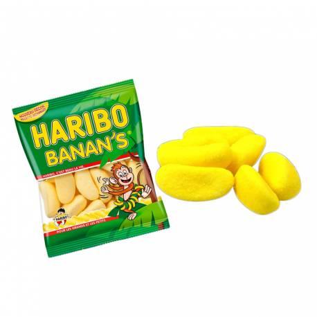 Mini sachet de bonbons Haribo Banan's idéal pour les anniversaires et la garniture de vos pinatas Goût Banane en forme de banane 30 gr