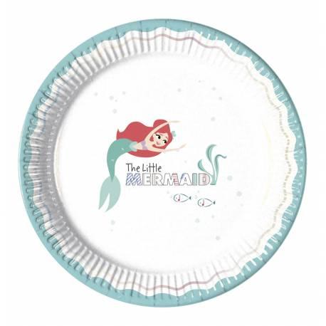 8 Assiettes en carton pour une décoration de table d'anniversaire sur le thème de La Petite Sirène, les assiettes ont un liseré...