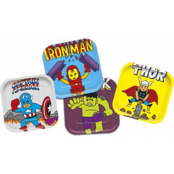 4 Assiettes carrée Avengers pop comics