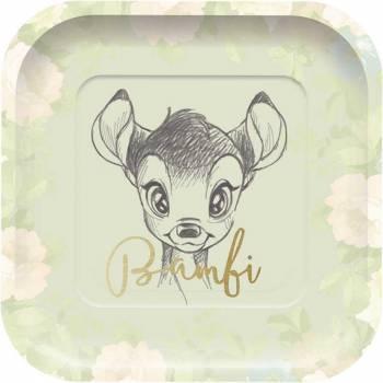 Assiettes Bambi carré avec Dorure- Deco Anniversaire.fr