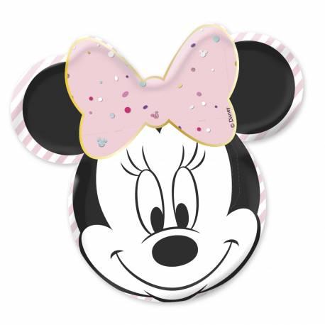 4 superbes assiettes en carton en forme de tête de Minnie pour une décoration de table d'anniversaire sur le thème de Minnie party...