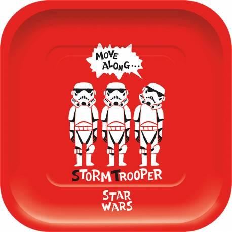 8 Assiettes carrée en carton pour une décoration de table d'anniversaire sur le thème Star Wars geek