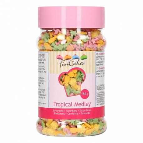 Voilà l'été avec ce mix de confettis en sucre de chez FunCakes ! Décorez vos cupcakes et gâteaux avec des palmiers, des ananas, des...