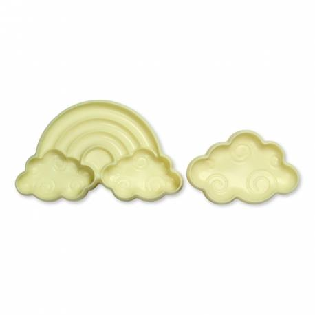 Kit 2 emporte piece nuage arc en ciel pour créer vos deco de gâteau en pâte à sucre et vos biscuits. Vous ne serez pas déçu par ce jeu...