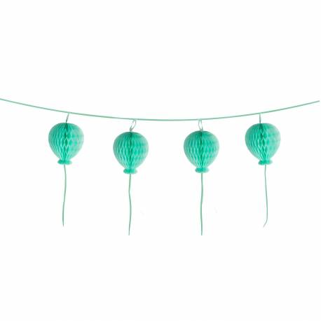 Superbe guirlande représentant des ballons en papier nid d'abeilles de couleur pastel turquoise Dimensions :