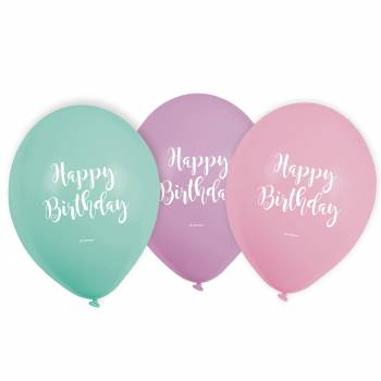 6 Ballons pastel Birthday