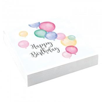 20 Serviettes papier Birthday Pastel
