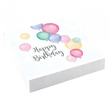 20 Serviettes papier Birthday Pastel