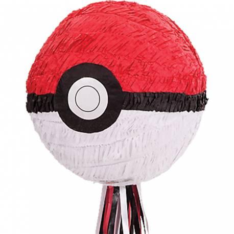 Pinata à fil en forme dePokemon Ball à remplir de bonbons et de jouets pour l'anniversaire de votre enfant. Qui tirera le fil qui...