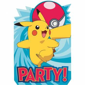 8 Cartes invitations Pokemon