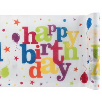 Chemin de table Happy Birthday Multicolore