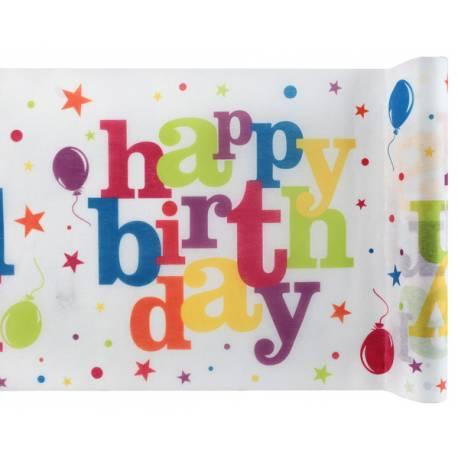 Chemin de table en tissu non tissé de couleur vives avec inscription Happy Birthday multicolore idéal pour une belle décoration de table...