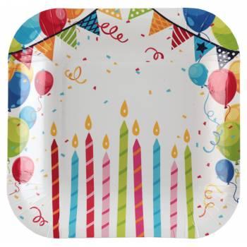 10 Assiettes dessert anniversaire arlequin