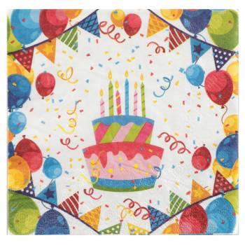 20 Serviettes anniversaire arlequin