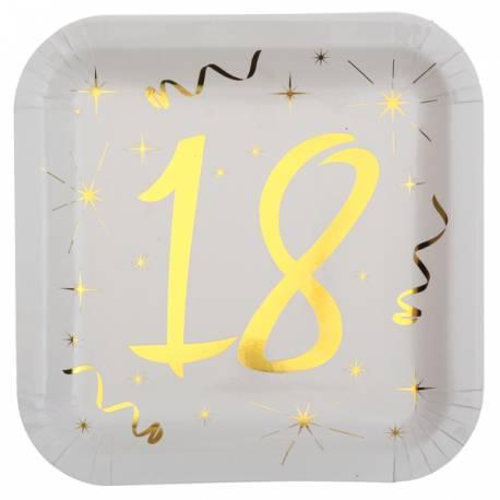 10 Assiettes blanches avec âge en dorure or 18 ans pour une décoration de table d'anniversaire chic et tendance Dimensions: 23cm x...