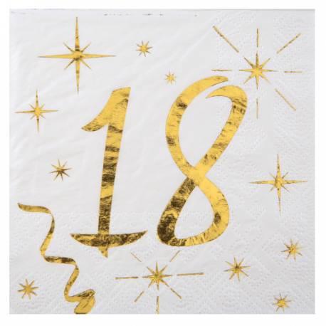 20 Serviettes à dessert blanches avec âge en dorure or 18 ans pour une décoration de table d'anniversaire chic et tendance Dimensions:...