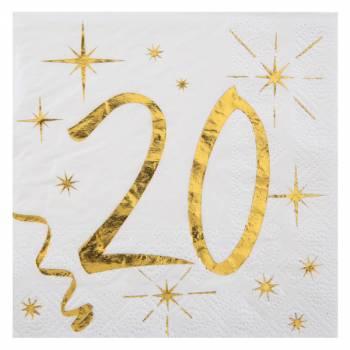 20 Serviettes dessert âge d'or 20 ans