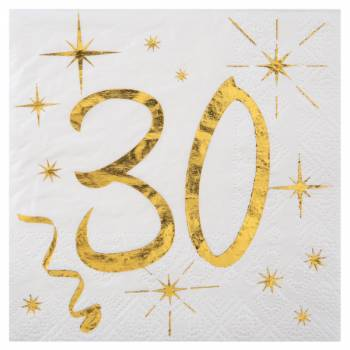 20 Serviettes dessert âge d'or 30 ans
