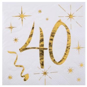 20 Serviettes dessert âge d'or 40 ans
