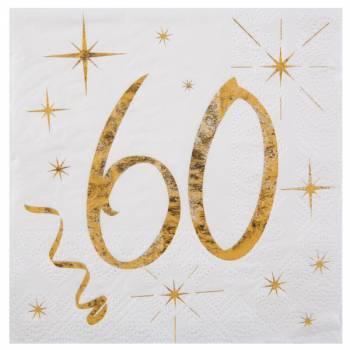 20 Serviettes dessert âge d'or 60 ans