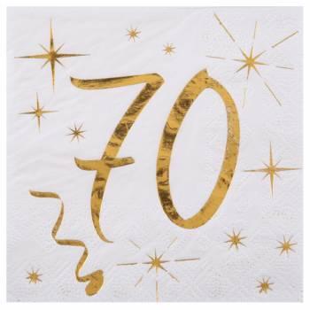 20 Serviettes dessert âge d'or 70 ans