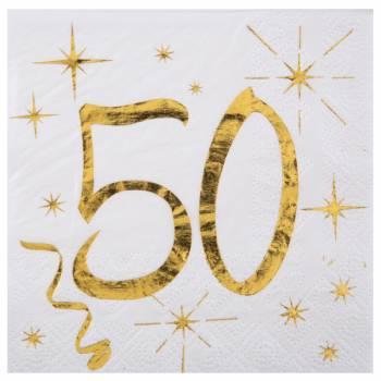 20 Serviettes dessert âge d'or 50 ans