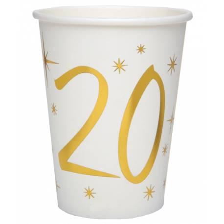 10 Gobelets blancs avec âge en dorure or 20 ans pour une décoration de table d'anniversaire chic et tendance Dimensions: ø 7.8 x 9.7...