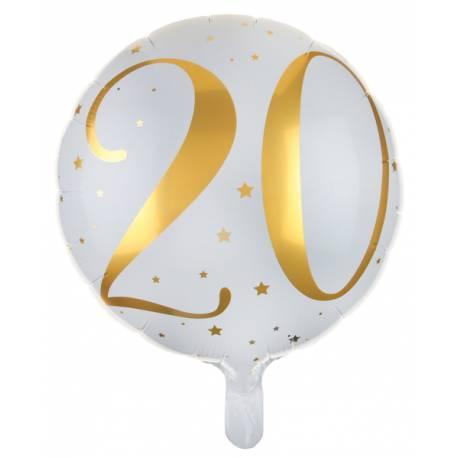 Ballon en aluminium à gonfler à l'hélium ou à l'air, l'hélium permet de faire flotter le ballon Couleur blanc avec 20 inscrit en dorure...