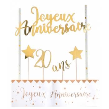 Kit déco de gâteau Joyeux anniversaire or 20 ans