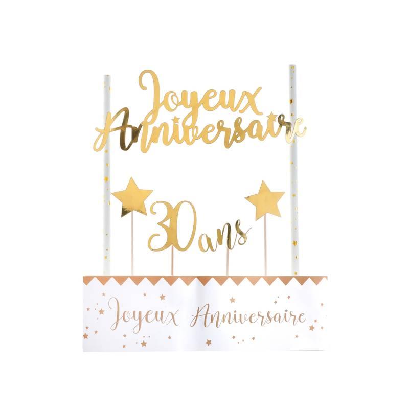 Kit Déco De Gâteau Joyeux Anniversaire Or 30 Ans