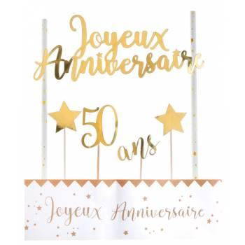 Kit déco de gâteau Joyeux anniversaire or 50 ans