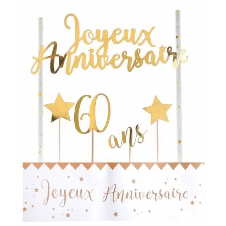 Kit permettant la décoration d'un gâteau d'anniversaire dans les tons or Contient: 4 pics étoiles et 60 ans, un décor avec 2 pailles et...