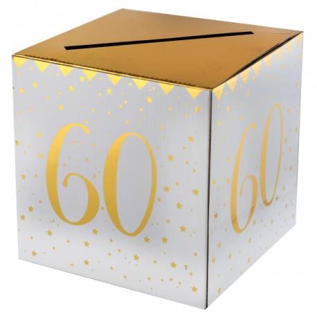 Superbe tirelire or blanche en carton à monter pour récolter cadeaux, enveloppes, cartes d'anniversaires....lors de votre fête...