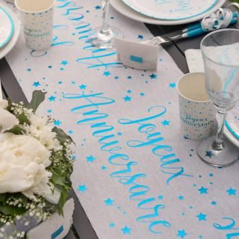 Chemin de table J A turquoise métallisé