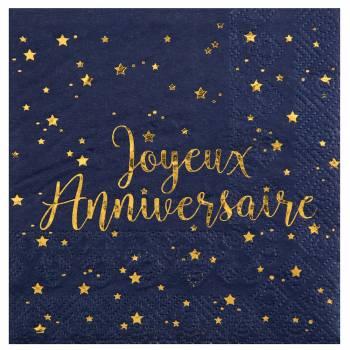 20 Serviettes dessert J A bleu nuit or