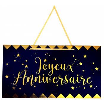 Pancarte Joyeux anniversaire bleu nuit or