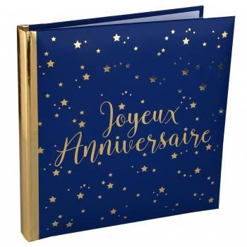 Livre d'or Joyeux anniversaire bleu nuit or