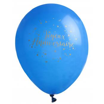 8 Ballons latex Joyeux anniversaire bleu nuit Or
