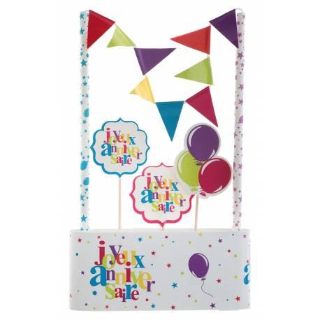 Kit permettant la décoration d'un gâteau d'anniversaire multicolore Contient: pics décoratifs, un décor avec 2 pailles et une banderole...