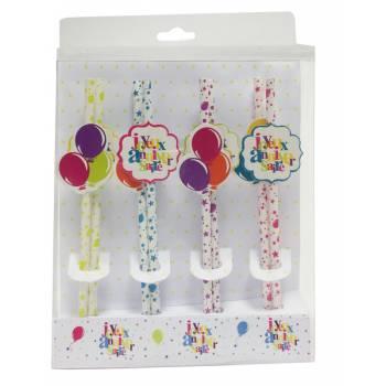 8 Pailles Joyeux anniversaire multicolore