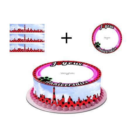 Kit décor en sucre pour réaliser une deco de gâteau rond en 1 clin d'oeil ! Prévu pour un gâteau d'un diamètre de 20 cm soit 8 parts...