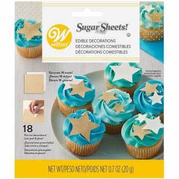 Feuilles de sucre étoiles or et blanches