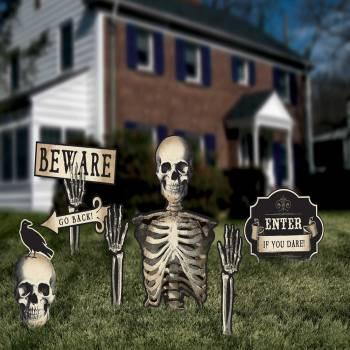 6 Décors de jardin Halloween squelette