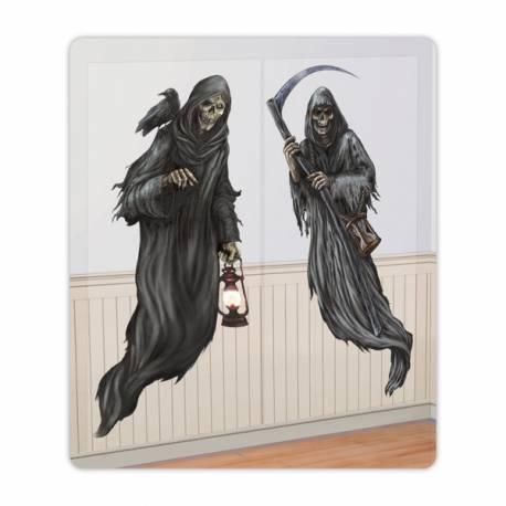 2 Décors sur toile plastifiée représentant des personnages de la mort à coller sur vos fenêtres ou mur, idéal pour les fêtes d'Halloween...