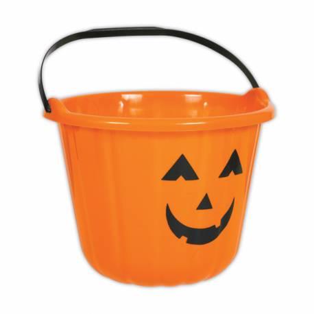 L'indispensable pour Halloween, le seau pour la récolte décor citrouille Dimensions : 16cm x 22cm