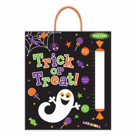 Sac de récolte en plastique fantôme gourmand, l'indispensable d'Halloween Dimensions : 40cm x 35cm