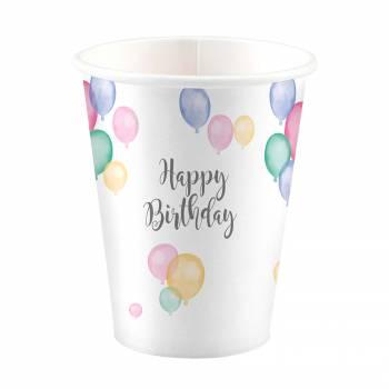 8 Gobelets Birthday Pastel