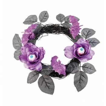 Couronne de fleurs violette globes occulaires